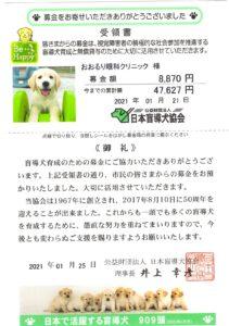 盲導犬協会への寄付